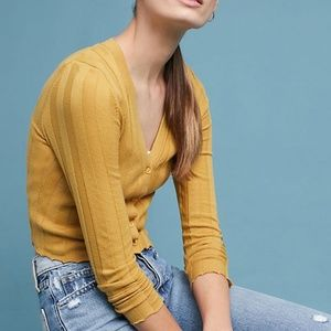 Anthropologie Akemi + Kin crop yellow cardigan, M